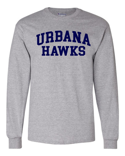 UHS Urbana Hawks Cotton T-shirt LONG SLEEVE CHAMPION Many Colors Available Sz S-3XL  LIGHT STEEL