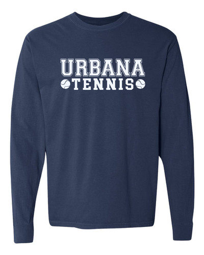 UHS Urbana Hawks Cotton T-shirt LONG SLEEVE COMFORT COLORS Garment Dyed TENNIS  Many Colors Available  Sz S-3XL  NAVY