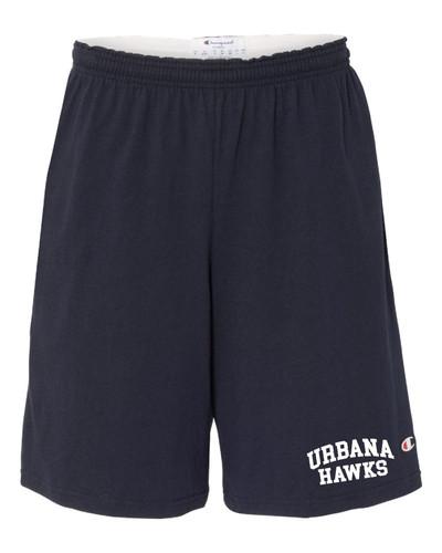 "UHS Urbana Hawks Shorts CHAMPION Cotton Jersey 9"" with Pockets SZ S-3XL"