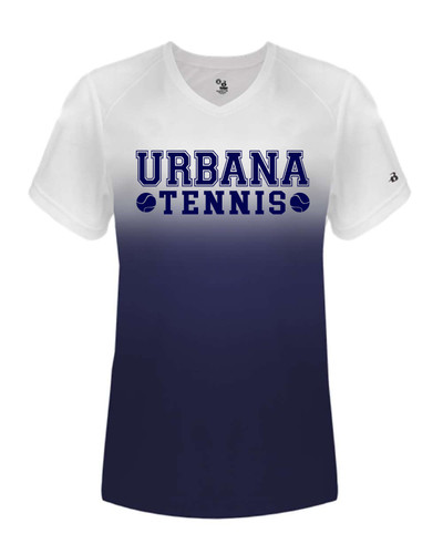 UHS Urbana Hawks Performance Badger Ombre  V-Neck T-SHIRT TENNIS  LADIES Sz XS-2XL NAVY