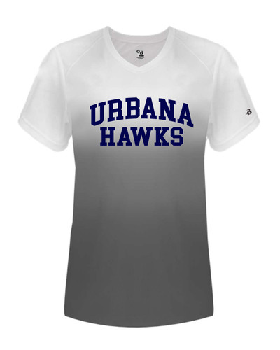 UHS Urbana Hawks Performance Badger Ombre V-NECK T-SHIRT LADIES Sz XS-2XL GRAPHITE