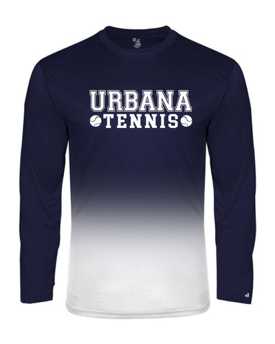 UHS Urbana Hawks Performance Badger Ombre T-SHIRT Long Sleeve TENNIS  Navy or Graphite Available  Sz S-4XL NAVY