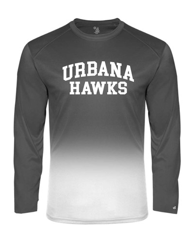 UHS Urbana Hawks Performance Badger Ombre T-SHIRT Long Sleeve  Navy or Graphite Available  Sz S-4XL GRAPHITE