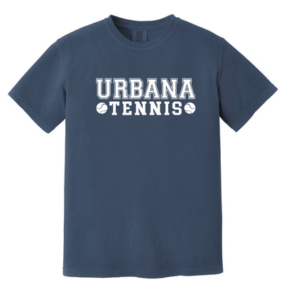 UHS Urbana Hawks Cotton T-shirt COMFORT COLORS Garment Dyed TENNIS Many Colors Available Sz S-3XL DENIM BLUE