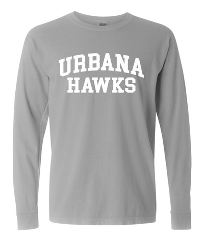 UHS Urbana Hawks Cotton T-shirt LONG SLEEVE COMFORT COLORS Garment Dyed Many Colors Available Sz S-3XL GREY