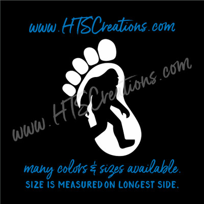 Big Foot Yeti Sasquatch Footprint  Left Foot Adventure Hiking Hunting Vinyl Decal Laptop Car Mirror Truck Mirror