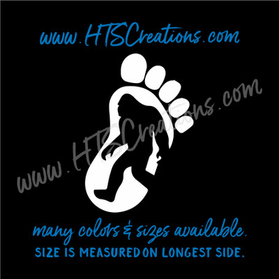Big Foot Yeti Sasquatch Footprint Right Foot Adventure Hiking Hunting Vinyl Decal Laptop Car Mirror Truck Mirror