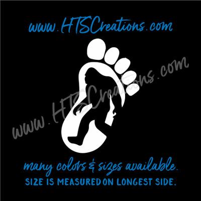 Big Foot Yeti Sasquatch Footprint Right Foot Adventure Hiking Hunting Vinyl Decal Laptop Car Mirror Truck Mirror