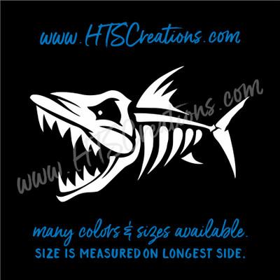 Fishbone Angry Fish Bone Skeleton Piranah Fishing Vinyl Decal Laptop Car Door Mirror Truck Water Thermos