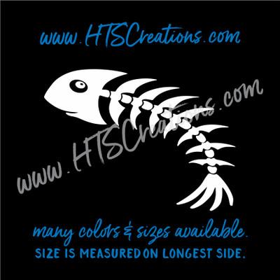 Fishbone Fish Bone Skeleton Fishing Vinyl Decal Laptop Car Door Mirror Truck Water Thermos WHITE