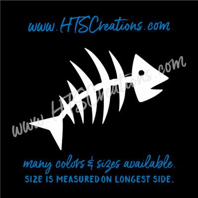 Fishbone Fish Bone Skeleton Fishing Vinyl Decal Laptop Car Door Mirror Truck Thermos WHITE
