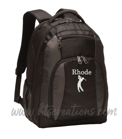 Golf Golfing Golpher Silhouette Sports Personalized Embroidered Monogram Backpack Waterbottle Holder