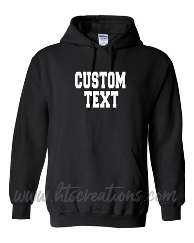 Hoodie Cotton Sweatshirt Custom Text VARSITY FONT Many Colors Available UNISEX SZ S-5XL BLACK