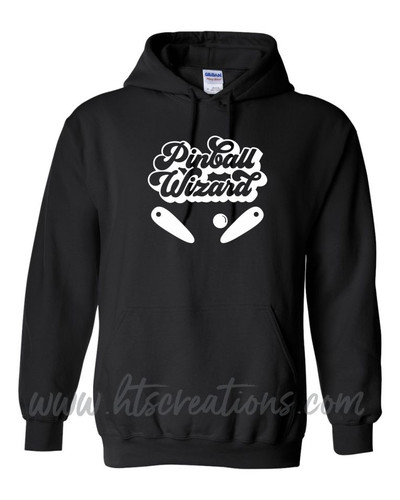 Pinball Wizard Flippers Ball Hoodie Cotton Sweatshirt Custom Text Personalization Many Colors Available UNISEX SZ S-5XL BLACK
