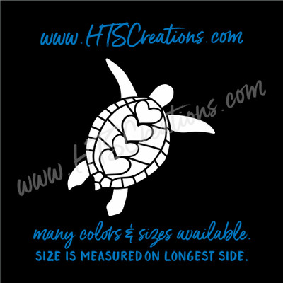 Sea Turtle Hearts Reptile Nautical Vinyl Decal Laptop Car Door Mirror Truck Boat WHITE
