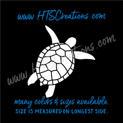 Sea Turtle Life Reptile Nautical Vinyl Decal Laptop Car Door Mirror Truck Boat WHITE