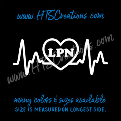 Nurse Heart EKG LPN Electrocardiogram Cardiogram Ardiogram ECG Nursing Vinyl Decal Laptop Car Door Mirror Truck Glass WHITE