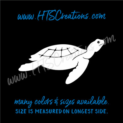 Sea Turtle Life Reptile Nautical Ocean Vinyl Decal Laptop Car Door Mirror Truck Boat WHITE