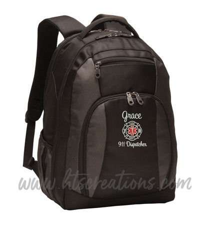 Fire Rescue Maltese Star of Life EMT EMS Paramedic Medic 911 Dispatcher First Responder Embroidered Backpack Personalized with Waterbottle Holder Personalized Black Charcoal Color SWEETHEART FONT