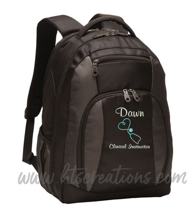 Upside Down Heart Stethoscope Nurse Nursing RN BSN LPN  LVN FNP CNA ER OT PT RT  Medical Personalized Embroidered Backpack with Waterbottle Holder FONT STYLE CASUAL SCRIPT