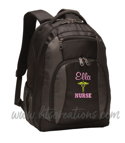 Caduceus Nurse Nursing RN BSN LPN  LVN ER OT PT Physical Therapy Medical Personalized Embroidered Backpack with Waterbottle Holder FONT STYLE  CASUAL SCRIPT & VARISTY