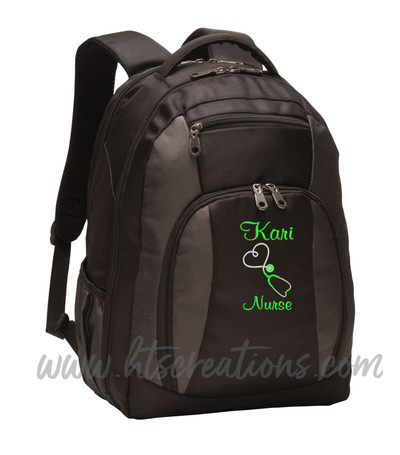 Upside Down Heart Stethoscope Nurse Nursing Aide RN BSN LPN  LVN FNP CNA ER OT PT RT  Medical Personalized Embroidered Backpack with Waterbottle Holder FONT STYLE CASUAL SCRIPT
