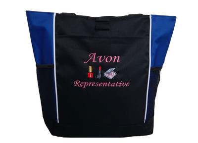 AVON Representative Sales Rep Beauty Nail Polish Lipstick Powder Compact Foundation ROYAL BLUE Tote Bag MONO CORSIVA Font Style