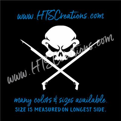 Spearfishing Skull Fishing Speargun Sling Hunting Diving Scuba Snorkeling Hawaii Vinyl Decal Laptop Car Truck WHITE
