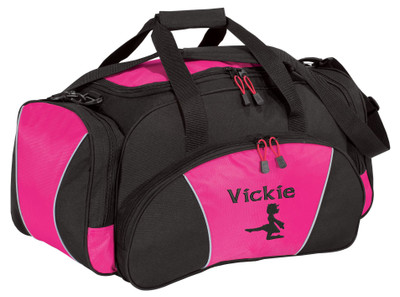 Irish Dancer Silhouette High Kick Celtic Ireland Dance Personalized Embroidered Duffel Bag TROPICAL PINK Font Style CALLIGRAPHY