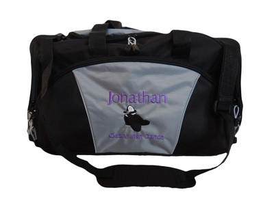 Irish Dance Clogging Clogger Tap Shoes Mens Celtic Ireland Dance Personalized Embroidered Duffel Bag GREY Font Style LONDON