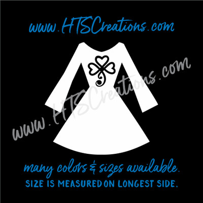 Irish Dancer Dress Shamrock Heart Celtic Dance Ireland Luck Clover Feis Lucky Ghillie Vinyl Decal WHITE