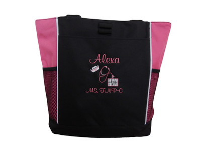 Heart Steth EKG RN BSN RT LVN FNP-C CNA LPN BScN Clinical Instructor Cardiac Registered Medic Student Stethoscope Case Manager Tote Bag Personalized TROPICAL HOT PINK Font Style CASUAL SCRIPT