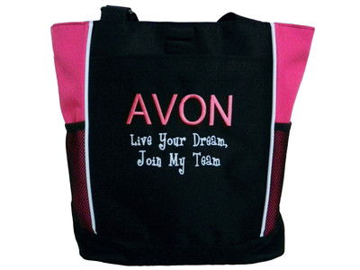 AVON Representative Sales Rep Live Your Dream Join My Team TROP PINK Tote Bag ARIAL and GIRLZ Font Style