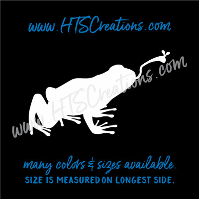 Frog Catching Fly Amphibian Toad Vinyl Decal Laptop Tablet Computer Car Truck  Mirror Boat WHITE