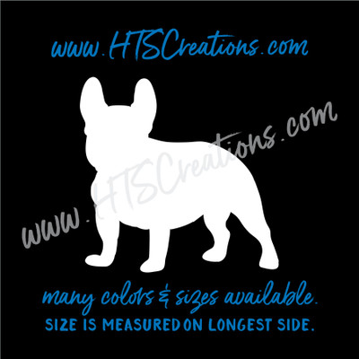 Dog Breed FRENCH BULLDOG Vinyl Decal Sticker K9 Rescue Canine WHITE
