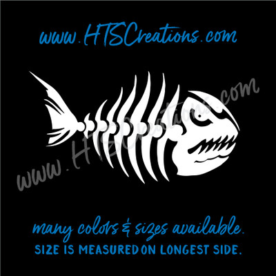 Fishbone Fish Bone Skeleton Fishing Vinyl Decal Boat Laptop Car Door Mirror Truck Water Thermos WHITE