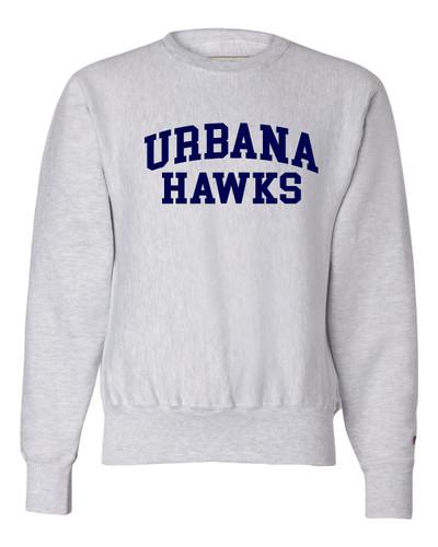 Urbana Hawks Crewneck Cotton Sweatshirt Reverse Weave CHAMPION Many Colors Available Sz S-3XL  SILVER GREY
