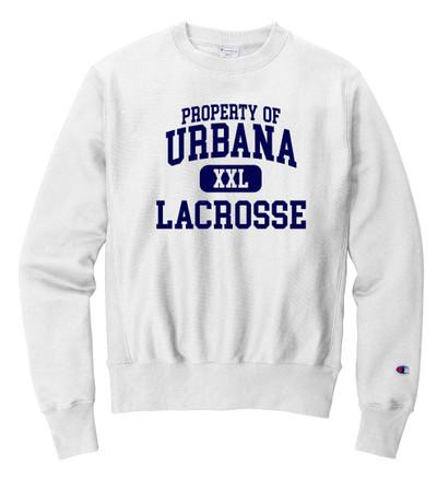 Urbana Hawks LACROSSE Crewneck Cotton Sweatshirt Reverse Weave CHAMPION Property Of Many Colors Available Sz S-3XL WHITE
