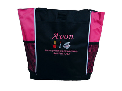 AVON Representative Sales Rep Website Marketing Nail Polish Lipstick Compact HOT PINK Tote Bag MONO CORSIVA Font Style