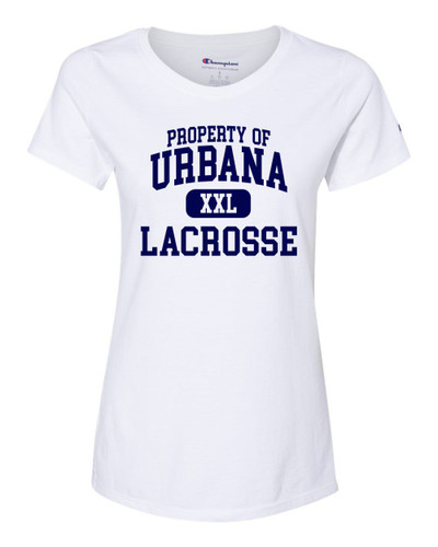 Urbana Hawks Lacrosse T-shirt CHAMPION Cotton T-shirt Many Colors Available Property of LADIES Sz S-2XL WHTIE