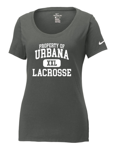 Urbana Hawks Lacrosse T-shirt NIKE Cotton Scoop Neck T-shirt Many Colors Available Property of LADIES Sz S-2XL ANTHRACITE
