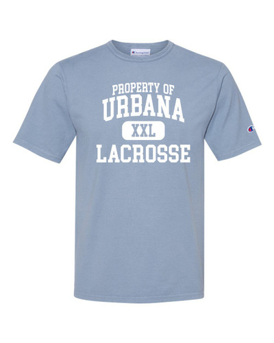 Urbana Hawks LACROSSE T-shirt Cotton CHAMPION Garment Dyed Property Of Many Colors Available Sz S-3XL SALTWATER