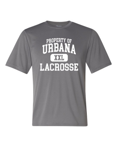 Urbana Hawks LACROSSE T-shirt Performance Double Dry CHAMPION Property Of Many Colors Available Sz S-3XL STONE GREY
