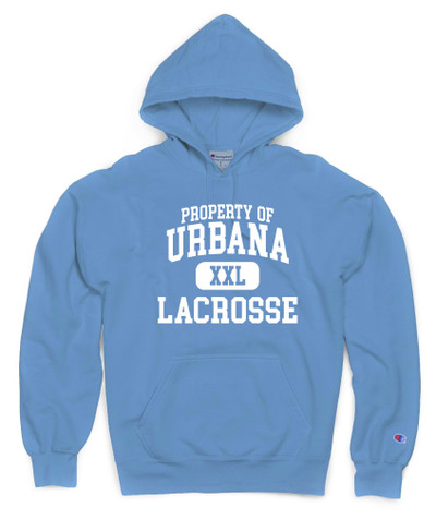 Urbana Hawks LACROSSE Hoodie Garment Dyed Sweatshirt CHAMPION Many Colors Available Sz S-3XL  DELICATE BLUE