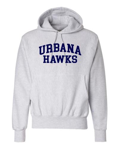 Urbana Hawks LACROSSE Reverse Weave Hoodie HEAVYWEIGHT Sweatshirt CHAMPION Many Colors Available Sz S-3XL  SILVER GREY