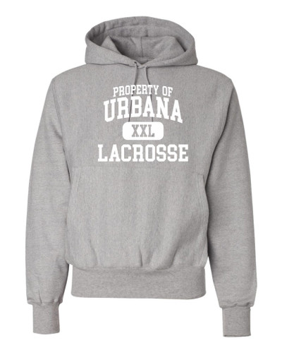 Urbana Hawks LACROSSE Reverse Weave Hoodie HEAVYWEIGHT Sweatshirt CHAMPION Many Colors Available PROPERTY OF Sz S-3XL OXFORD GREY-WHITE PRINT