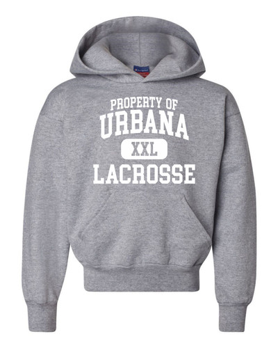 Urbana Hawks LACROSSE Double Dry Eco Hoodie Sweatshirt CHAMPION YOUTH Many Colors Available Sz S-XL LIGHT STEEL-WHITE PRINT