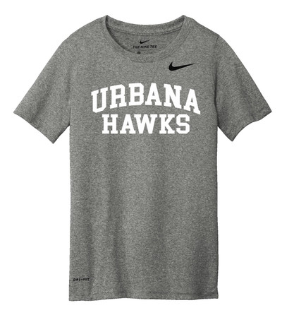 Urbana Hawks LACROSSE T-shirt NIKE Performance Dri-FIT Many Colors Available YOUTH Sz S-L  SIZING CHART CARBON HEATHER