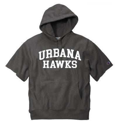 Urbana Hawks Reverse Weave Hoodie Sweatshirt Short Sleeve CHAMPION Many Colors Available Sz S-3XL CHARCOAL HEATHER