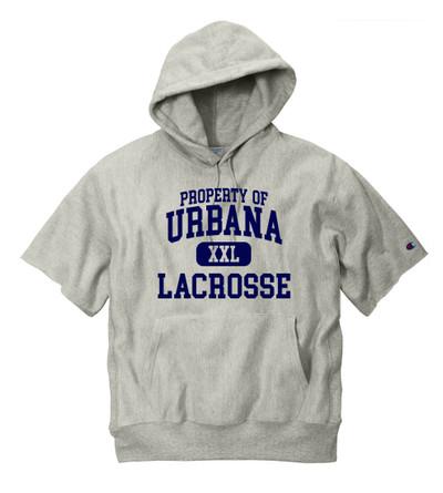 Urbana Hawks Reverse Weave HEAVYWEIGHT Hoodie Sweatshirt Short Sleeve CHAMPION PROPERTY OF Many Colors Available Sz S-3XL XFORD GREY